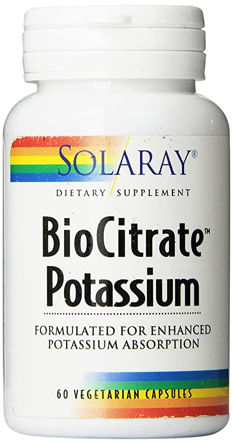 Solaray Biocitrate Potassium Supplement, 99mg, 60 Count by Solaray
