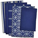 "DII 100% Cotton, Ultra Absorbent, Oversized, Washing, Drying, Basic Everyday Kitchen Dishtowel 18 x 28"" & Dishcloth 13 x 13"", Set of 5 - Nautical Blue"