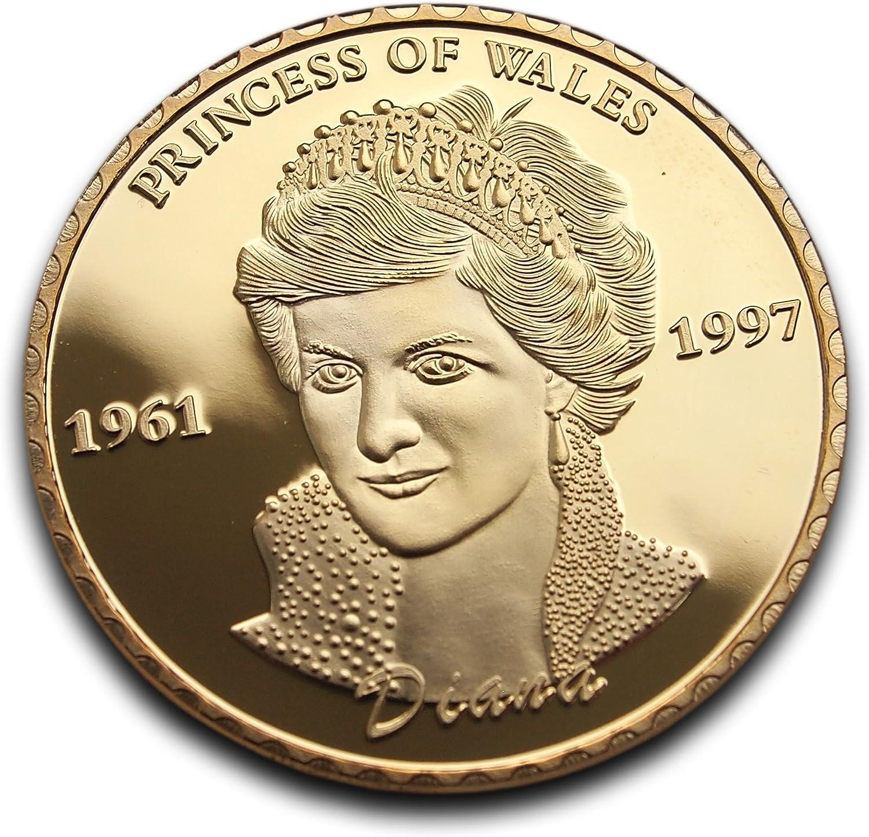 Chapado en oro de Lady Diana Princesa de Gales aniversario moneda ...