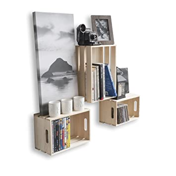 wallniture set of 3 wall mounted shelves crates durable wood floating display storage bin organizer - Wall Mounted Bookcase