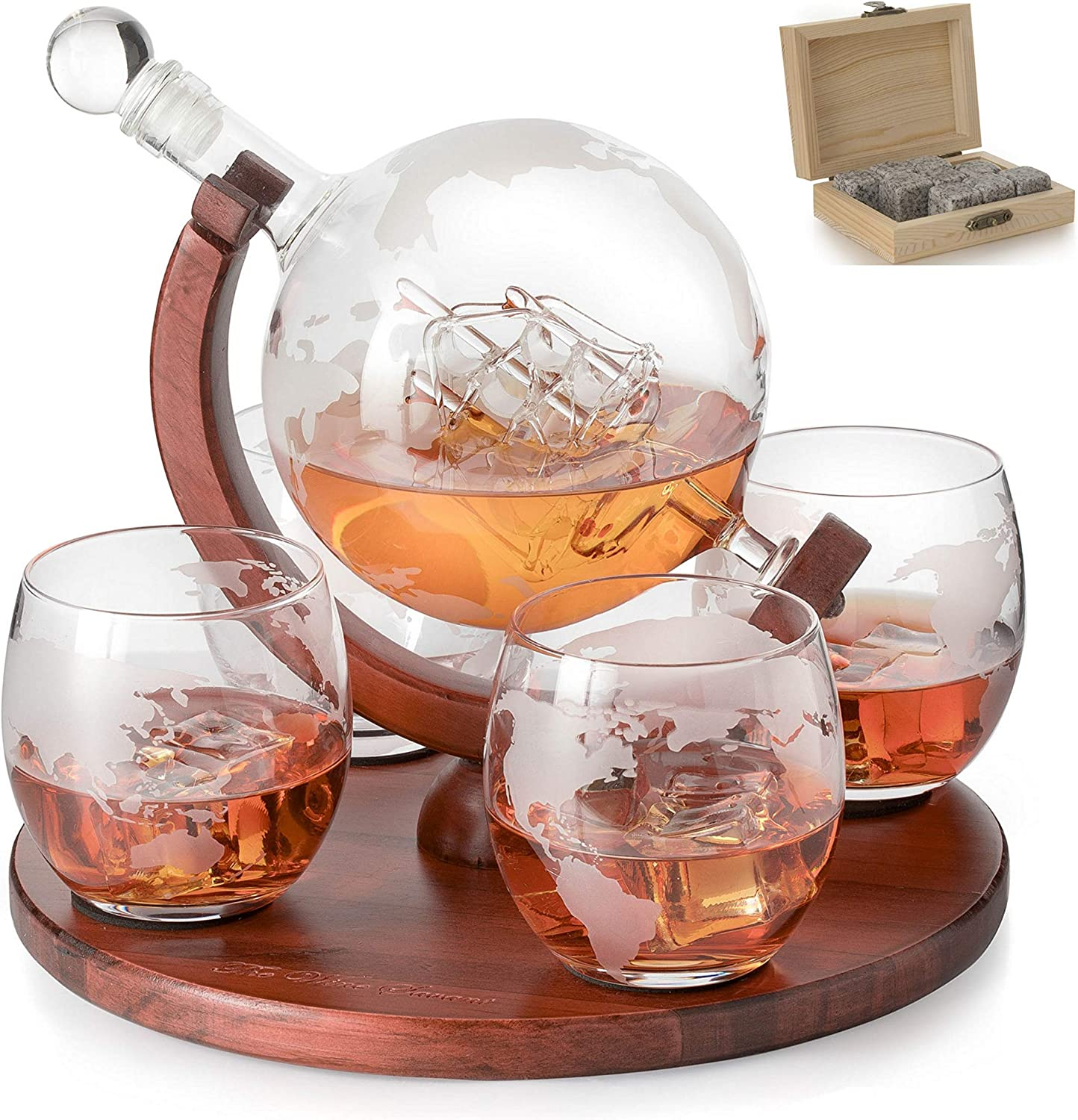 Etched World Decanter Whiskey Globe The Wine Savant Whiskey Gift Set Globe Decanter With Antique Ship Whiskey Stones And 4 World Map Glasses Great Gift Alcohol Related Gift