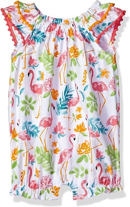 cb9ea1159cdf Mud Pie Baby Girls Flamingo Floral Fluttler Sleeve Bubble Romper Playwear