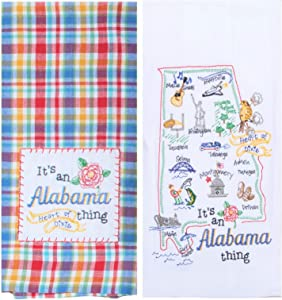 Kay Dee Designs Alabama Map Home State & Souvenir Embroidered Dish Towels, Bundle Set of 2 State of Alabama Kitchen Towels