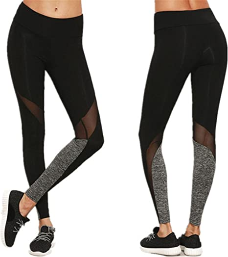 Longra Hey! Leggings Deportivos de Malla para Mujer, Pantalones de Yoga Slim Sólido Color Elástico Pretina Pantalones