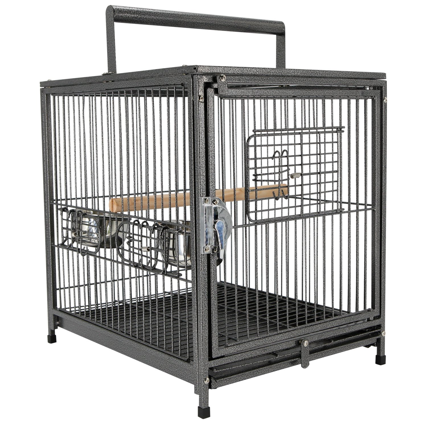 pawhut metal bird travel cage