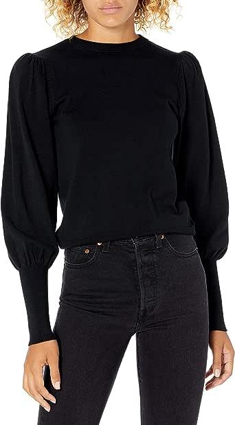 The Drop Women's Vivienne Padded Shoulder Balloon-Sleeve Crew-Neck Sweater