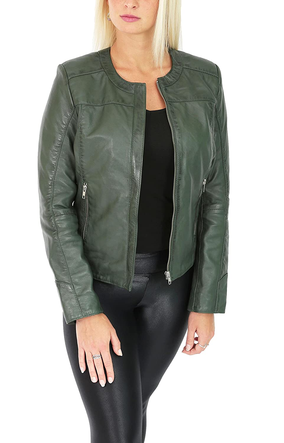Real Leather Collarless Jacket for Women Tailored Cut Slim ...