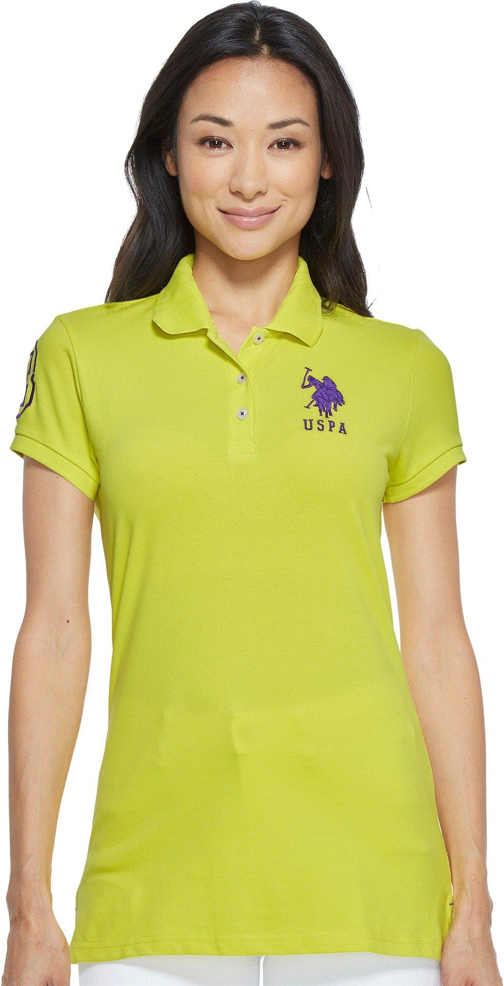 U.S. Polo Assn. Women's Neon Logos Short Sleeve Polo Shirt, Pineapple Colada, S