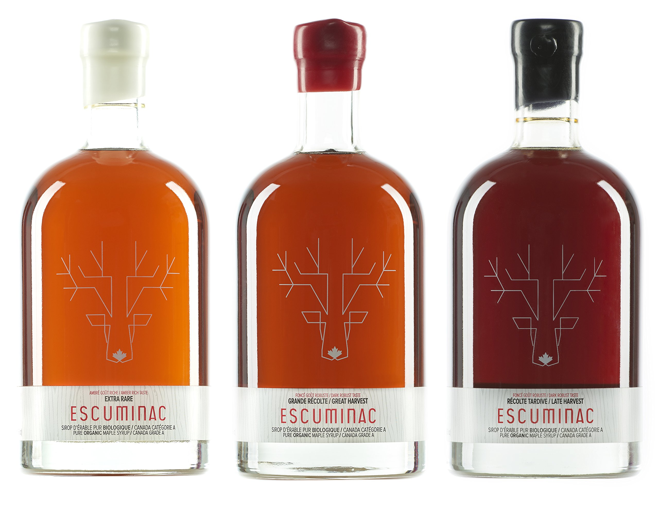 Award Winning Escuminac Canadian Maple Syrup Gift Bundle Grade A Including Our Extra Rare, Great Harvest and Late Harvest - Pure Organic Unblended Single Forest - 3 X 16.9 fl oz (500 ml) - Easter Gift