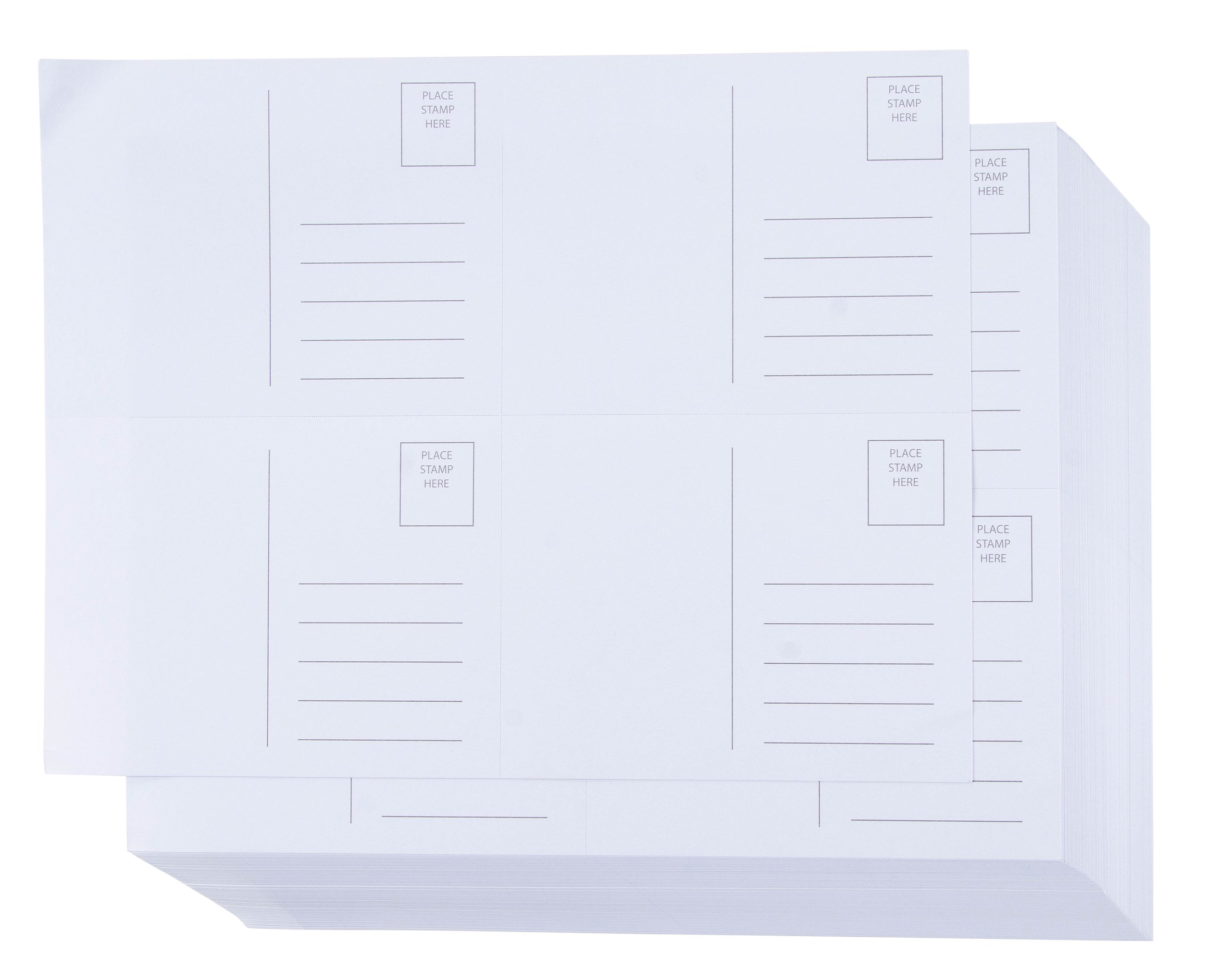 Blank Postcards - 100-Sheet Kraft Paper Postcards, Self Mailer Mailing Side Postcards, 4 Per Page 400 Cards in Total, White, Perforated, 4 x 6 Inches