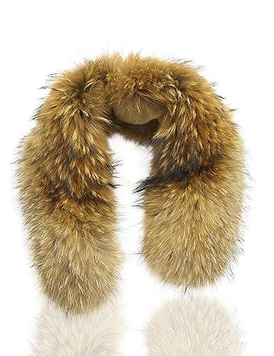 Uilor genuino del mapache cuello de piel bufanda 75cm Longitud