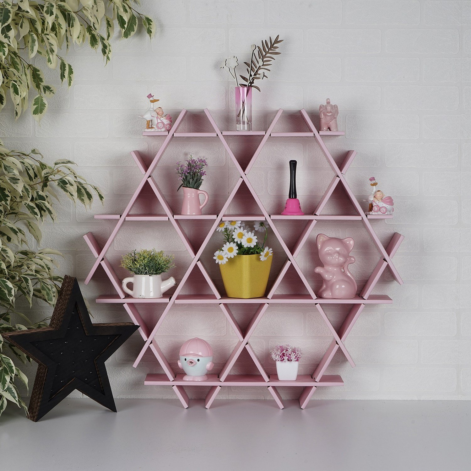 LaModaHome Cardboard Shelf 100% Corrugated Cardboard (27.6'' x 26.4'' x 4.3'') Pink Triangle Hexagon Decorative Design Pretty Storage Shelf Multi Purpose by LaModaHome