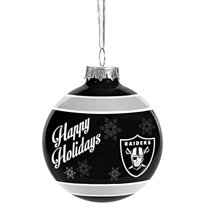 Oakland Raiders Christmas Ornaments.Forever Collectibles 2016 Christmas Holiday Glass Ball Ornament Oakland Raiders