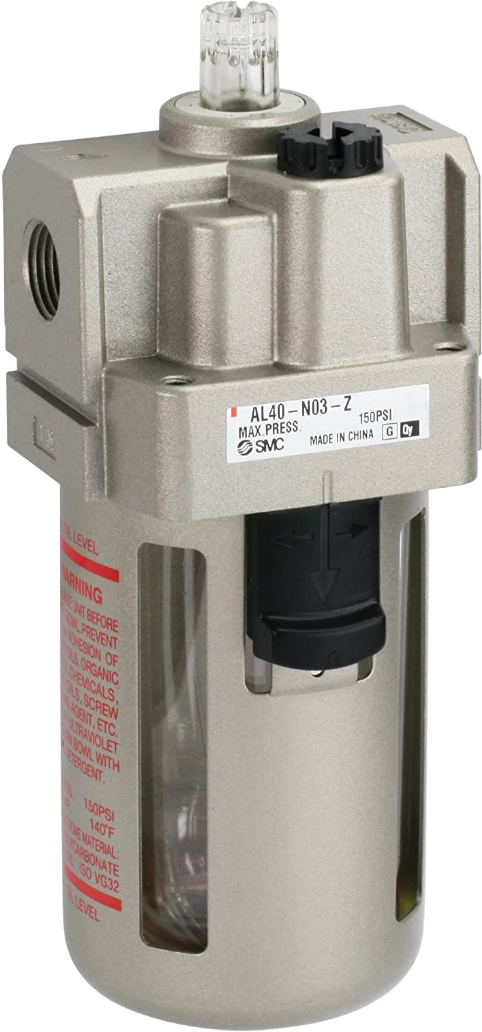without Drain Cock 55 mL Oil Capacity Polycarbonate Bowl 3//8 NPT SMC AL30-N03-Z Lubricator 40 L//min Dripping Flow Rate