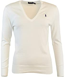 RALPH LAUREN Women s Cable Knit Sweater Cotton V-Neck White M at ... 40607ef80