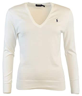 7a3bcaba29cd Image Unavailable. Image not available for. Color: RALPH LAUREN Polo Womens  V-Neck Pima Cotton Sweater ...