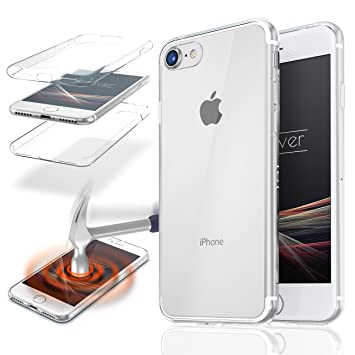 Urcover® Apple iPhone 7 | Funda Carcasa Protectora 360 Grados | TPU en Transparente | Protección Completa Case Cover Smartphone Móvil Accesorio