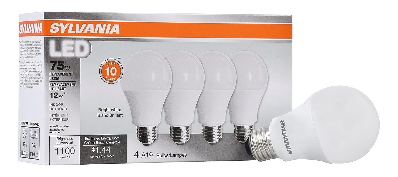 Sylvania Home Lighting 78099 Sylvania Non-Dimmable Led Light Bulb, 12 W, 120 V, 1100 Lumens, 3500 K, CRI 80, 2.375 in Dia X 4.29 in L Bright White 4 Piece