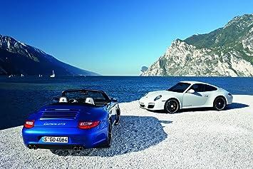 Porsche 911 Carrera GTS Car Art Poster Print on 10 mil Archival Satin Paper Blue/