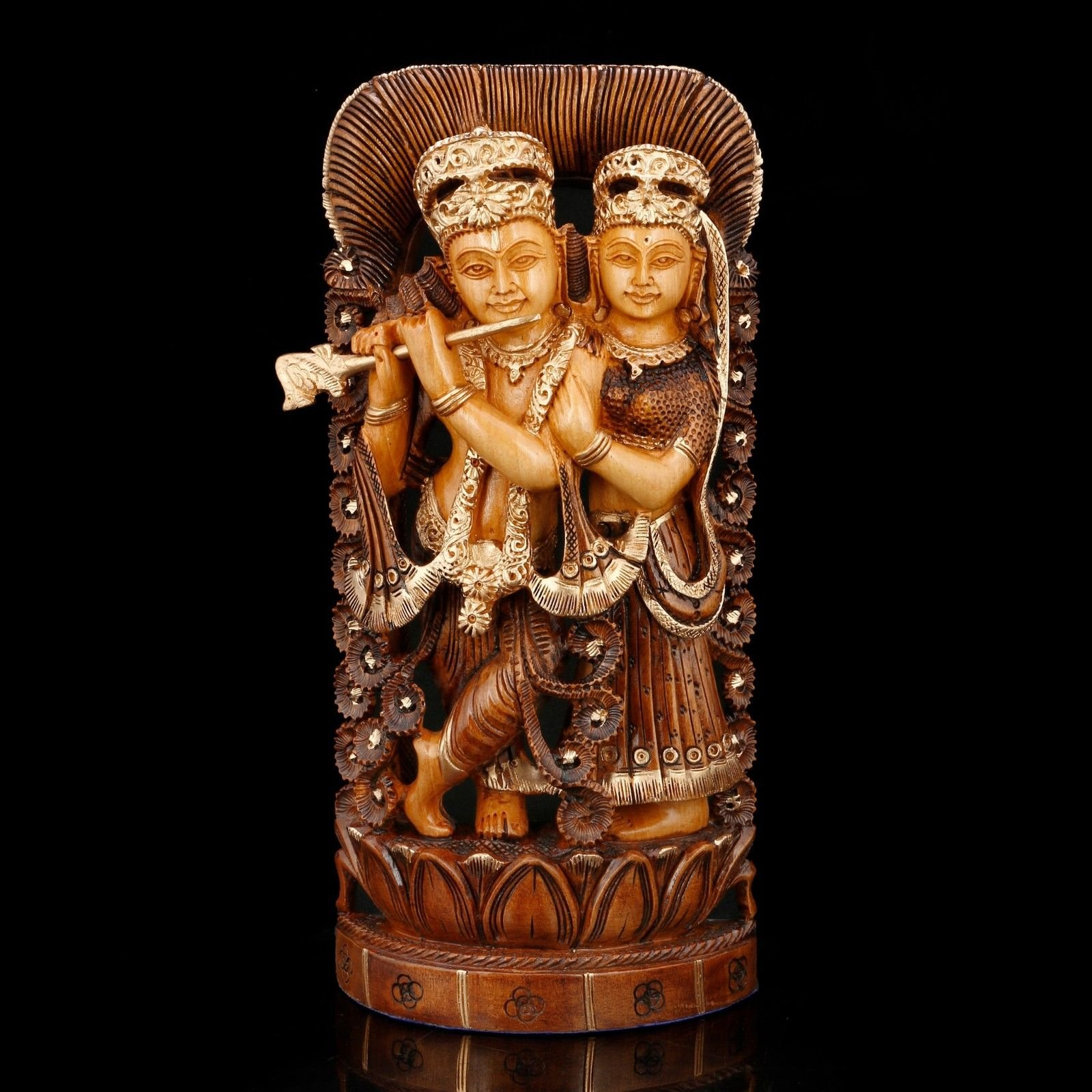 CraftVatika Large Radha Krishna Idol Hindu God Figurine Lord Love Wooden Radha Krishna Statue Handmade Decor Gift