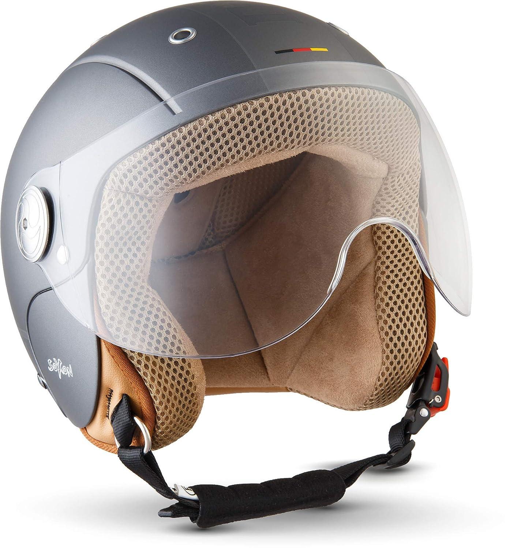 SOXON SK-55 Kids Night · Demi-Jet Vintage Kids Pilot Scooter Vespa Bobber Chopper Biker Cruiser Helmet Casque Jet pour Enfant Moto Mofa Retro · ECE certifiés · visière inclus · y compris le sac de casque · N