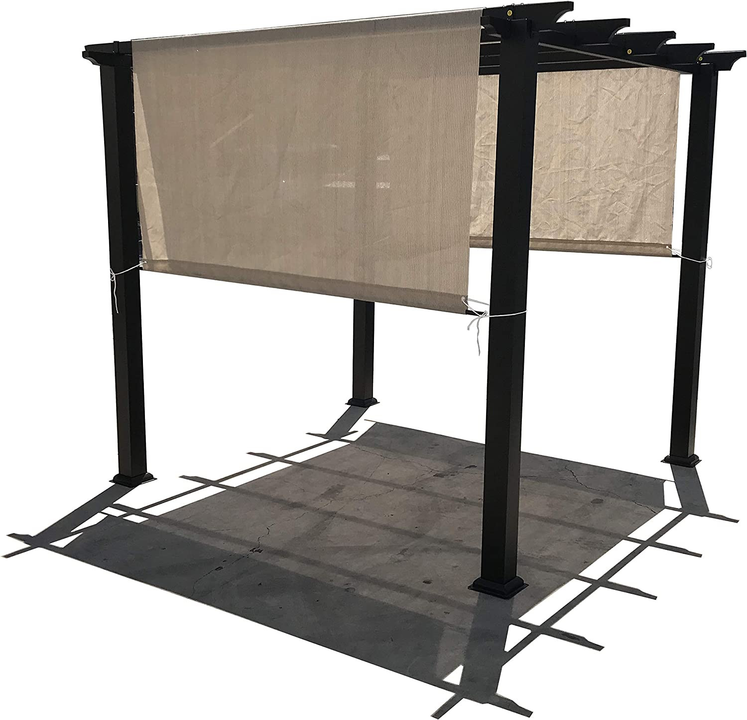 Alion Home Custom HDPE Permeable Canopy Sun Shade Cover Replacement with Rod Pockets for Pergola (16' x 105'', Smoke Grey)