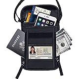 FREETOO Passport Holder RFID Blocking Neck Wallet Concealed Travel Pouch/Neck Stash Anti-Theft Hidden Wallet-Black