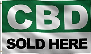 3x5 Foot CBD Sold HERE Flag: 100% Polyester Banner, Strong Canvas Header with 2 Brass Grommets, UV Resistant Vibrant Digital Print, for Use Outdoor or Indoor