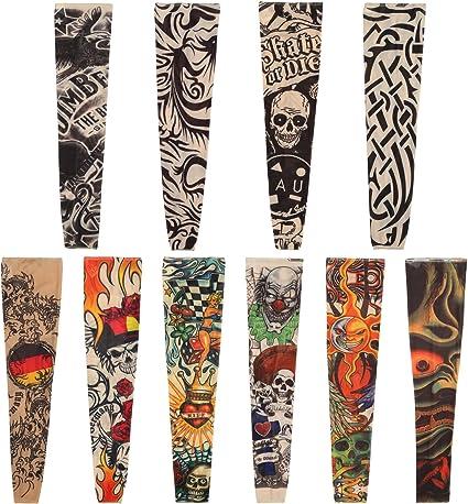 Naler 10 Mangas de Tatuajes Mangas Tatuajes Falsos Decorados Mangas Tatuajes Temporales para Brazo para Hombres y Mujeres para Fiesta de Disfraces: Amazon.es: Belleza