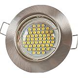 """12x Lu-Mi® Einbaustrahler GU10 LED 3W SMD Warmweiß 230V""""Edelstahl gebürstet/Rund (SD863)"""" Einbaurahmen mit GU10 Fassung"""