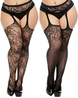 62c1fa1be TGD Womens Plus Size Stockings Suspender Pantyhose Fishnet Tights Black  Thigh High Stocking 2Pairs Size(