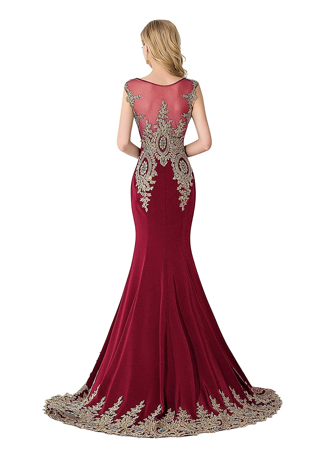 6419ff1051 MisShow Women's Rhinestone Long Applique Trumpet/Mermaid Evening Prom  Dresses