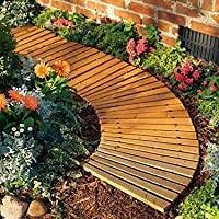 Plow & Hearth 52128 Roll Out Wooden Curved Garden Pathway, 4 feet, Natural Cedar