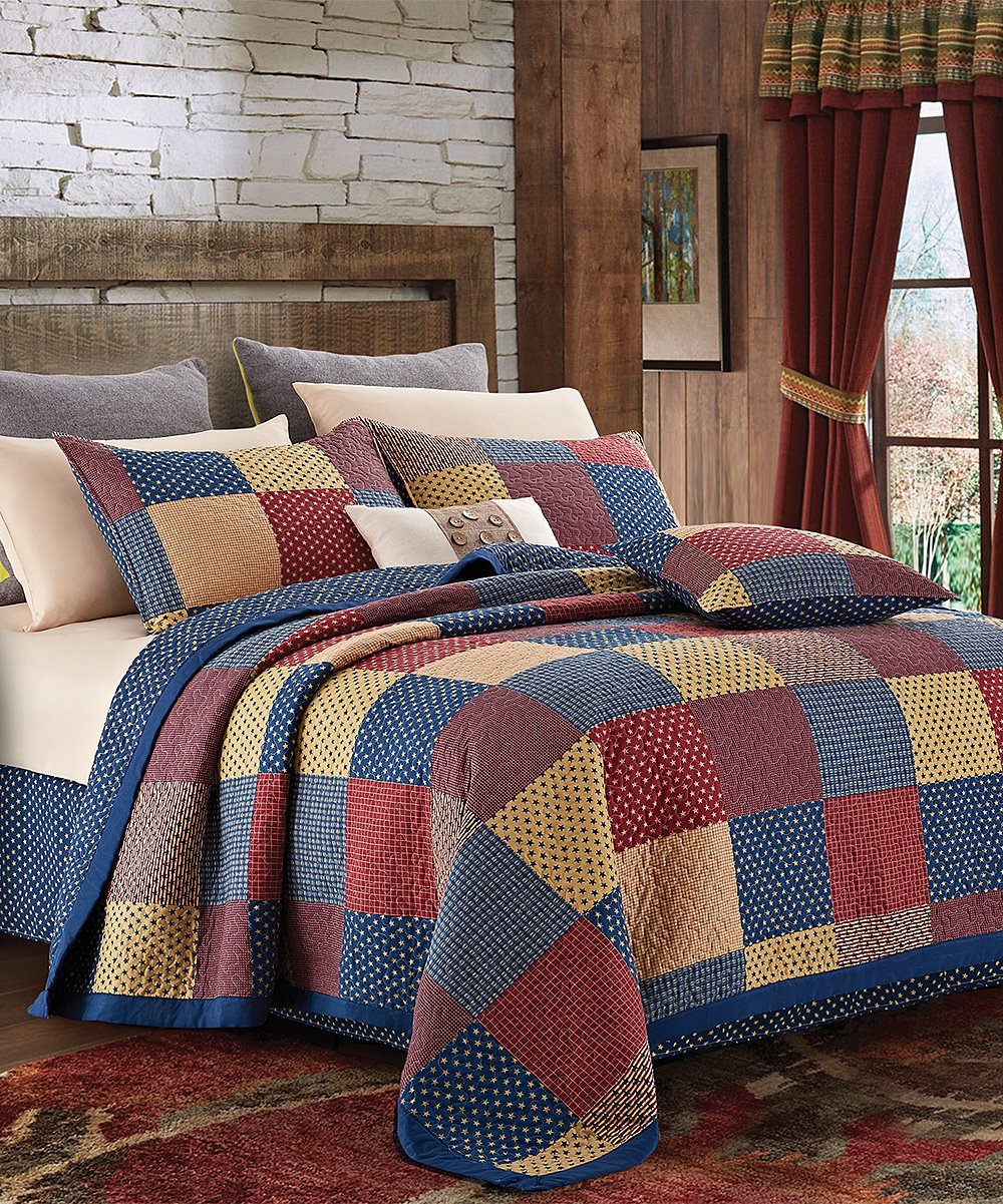 Country Home Collection Vintage Americana Primitive Patchwork Charm 3pc FULL/QUEEN Quilt Set + METAL BARN STAR!