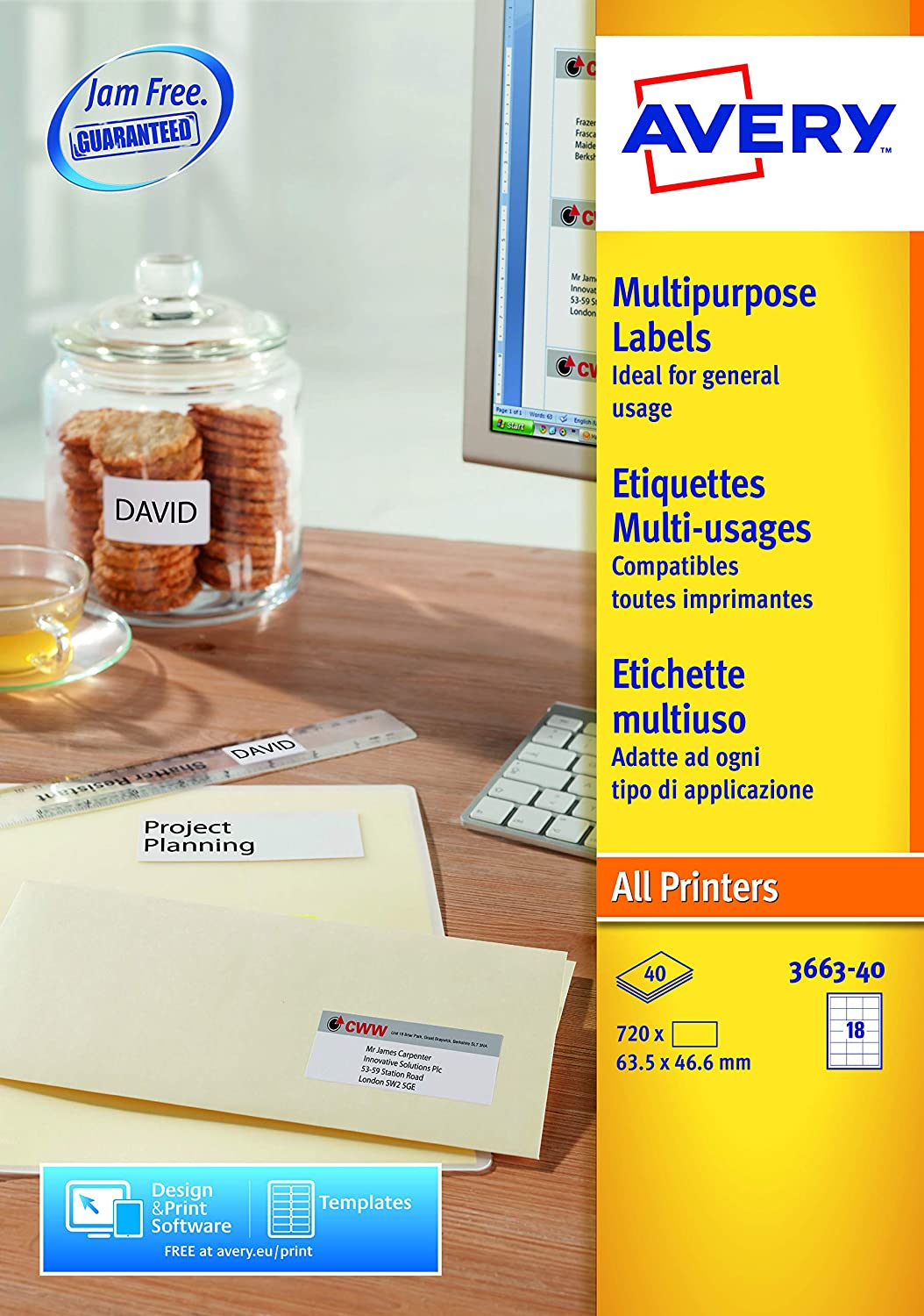 Avery 3663 40 Multipurpose Labels A4 Sheets Of 635 X 466 Mm