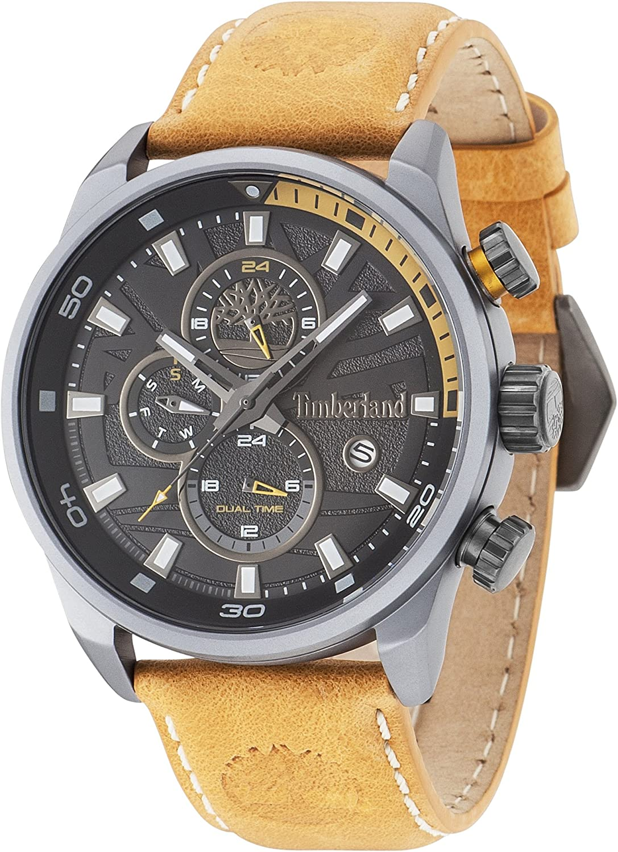 Timberland 14816JLU/02 –Reloj de Cuarzo para Hombre con Esfera analógica Negra y Correa de Piel Amarilla