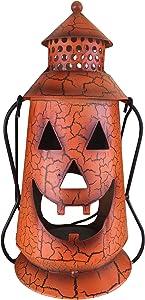 Clovers Garden Halloween Pumpkin Rustic Lantern with Handle, Metal Jack O Lantern Fall Decoration, Standing or Hanging, Holds Pillar Candle - Indoor, Outdoor
