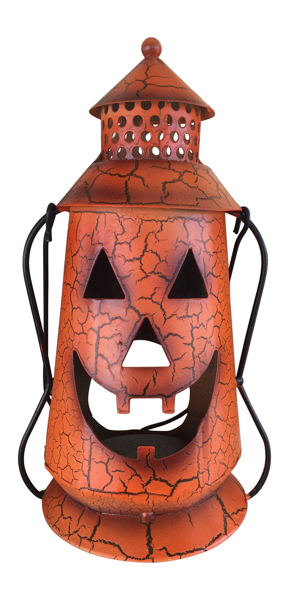 Halloween Pumpkin Rustic Lantern with Handle, - Metal Jack O Lantern Fall Decoration, Standing or Hanging, Holds Pillar Candle - Indoor, Outdoor, by Clovers Garden