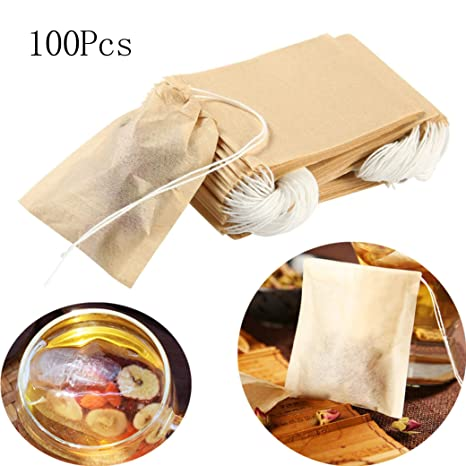 Bolsas de papel para filtro de té, con cierre de calor, infusor de té, bolsa de té desechable, 100% papel natural sin blanquear 100pcs
