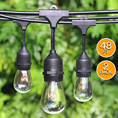 2-Pack 48Foot Heavy Duty Outdoor Patio String lights, Edison Vintage Dimmable 11S14 Bulbs w/ Hanging Sockets, Commercial Grade Weatherproof Market Cafe Lights for Bistro Backyard Pergola Party, Blk