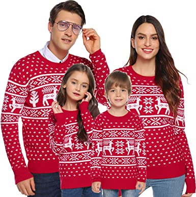 Aibrou Family Christmas Jumper Reindeer Snowflakes Sweater Vintage Long Sleeve Chunky Knitted Ribbed Xmas Knitwear Pullover Sweater Tops