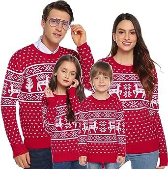 Aibrou Suéter de Navidad para Familia,Jersey de Copos de Nieve de Renos navideños para Mujer Hombre,Jersey Pullover de Punto Vintage de Inviernno Manga Larga para Niño Niña