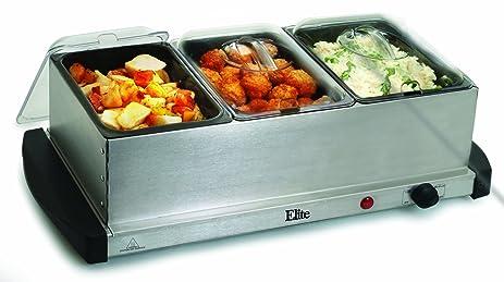 amazon com elite gourmet ewm 107 maxi matic 1 5 quart 3 tray buffet rh amazon com elite platinum buffet server elite platinum buffet server warming tray