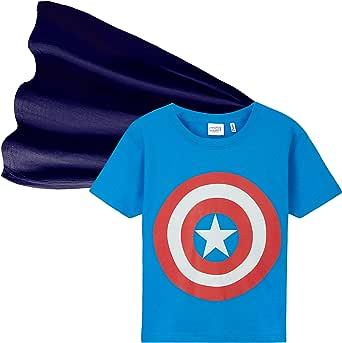 Marvel Camiseta Niño, Ropa Niño 100% Algodon, Camisetas Niño con Capa de Superheroes, Merchandising Oficial Regalos para Niños y Adolescentes 4-14 Años