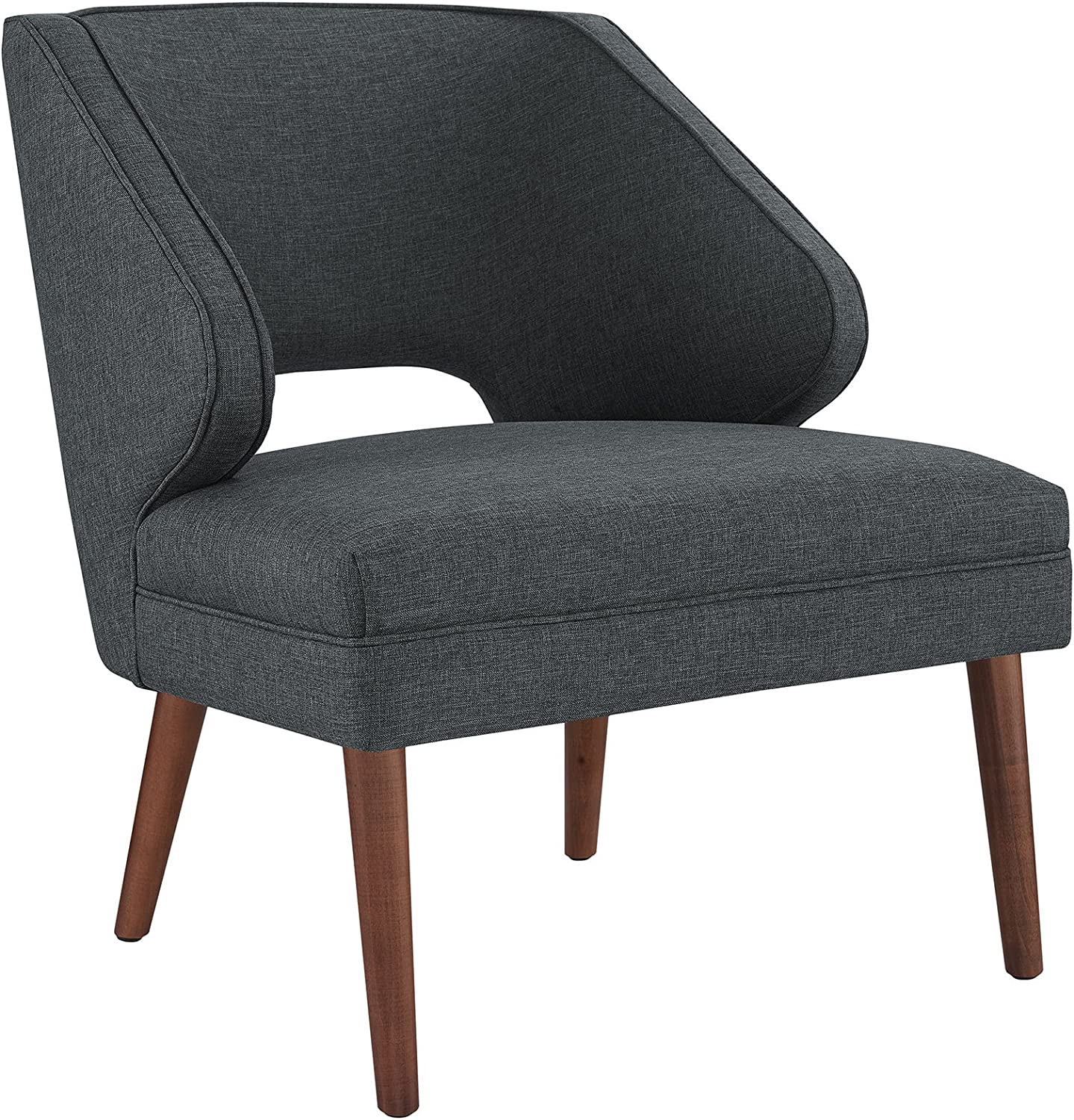 Modway Dock Mid-Century Modern Upholstered Fabric Accent Arm Lounge Chair in Gray
