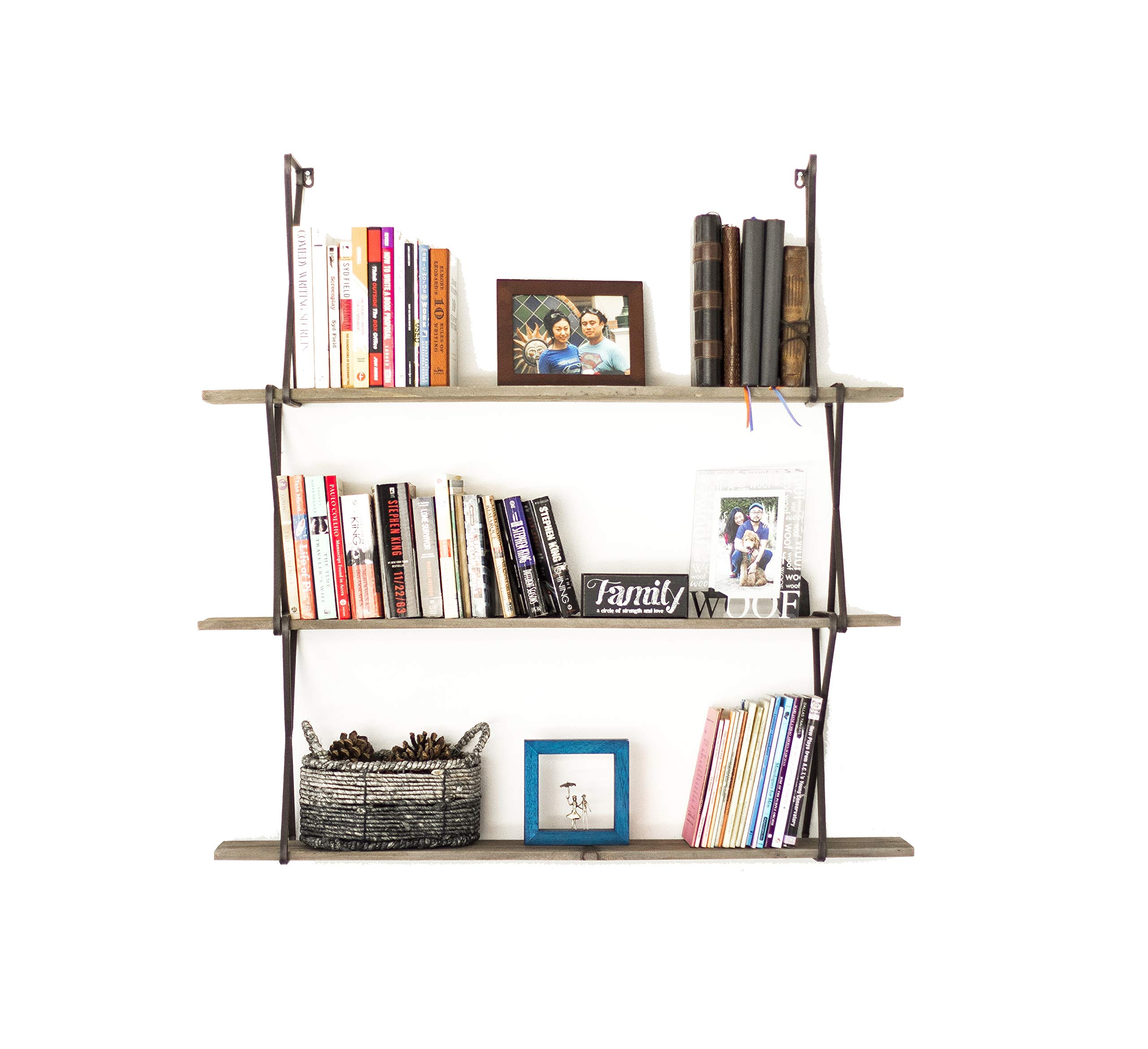 Avignon Home 3 Tier Wall Mounted Floating Bookcase Book Shelf Rustic Wood Hanging Book Case for Storage, Display Decor, Bookshelves, Organizer