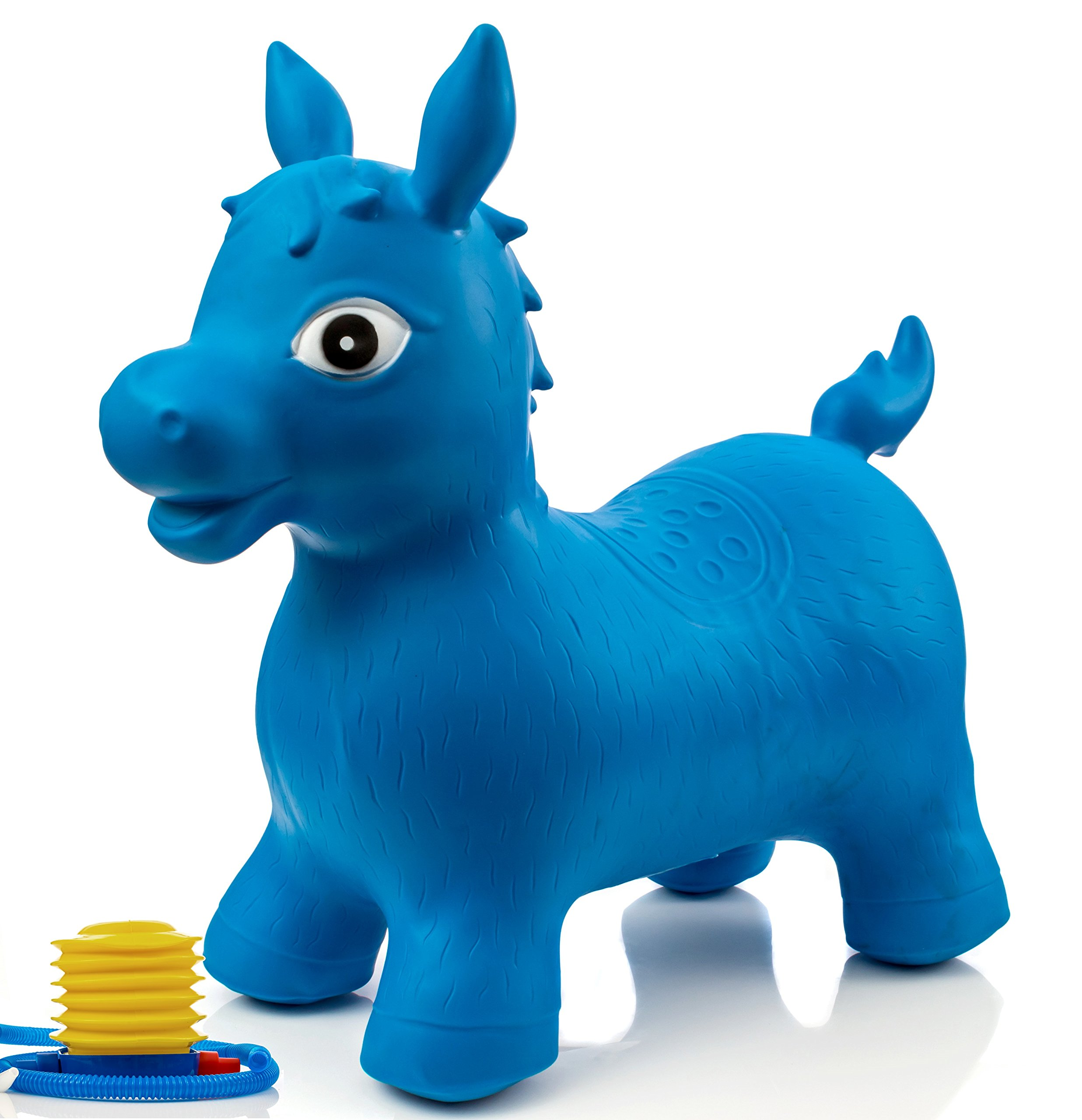 Children's Horse Hopper,with Free Foot Pump, Exercise Jumping Animal, Bouncy Horsey for Children, Fun Space Hopper for Core Strengthening (Blue Horse, Regular)