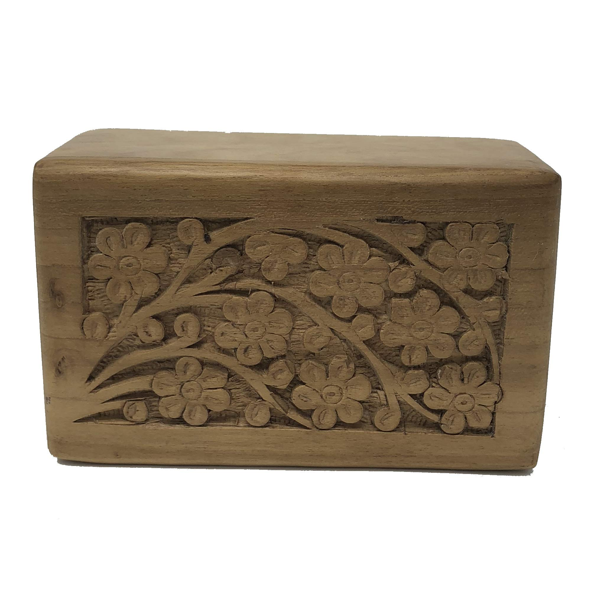 Teak Wood Affordable Urn - Engraved Carved Top Tree of Life - for Human or Pet Ashes Cremated Remains (X-Small)