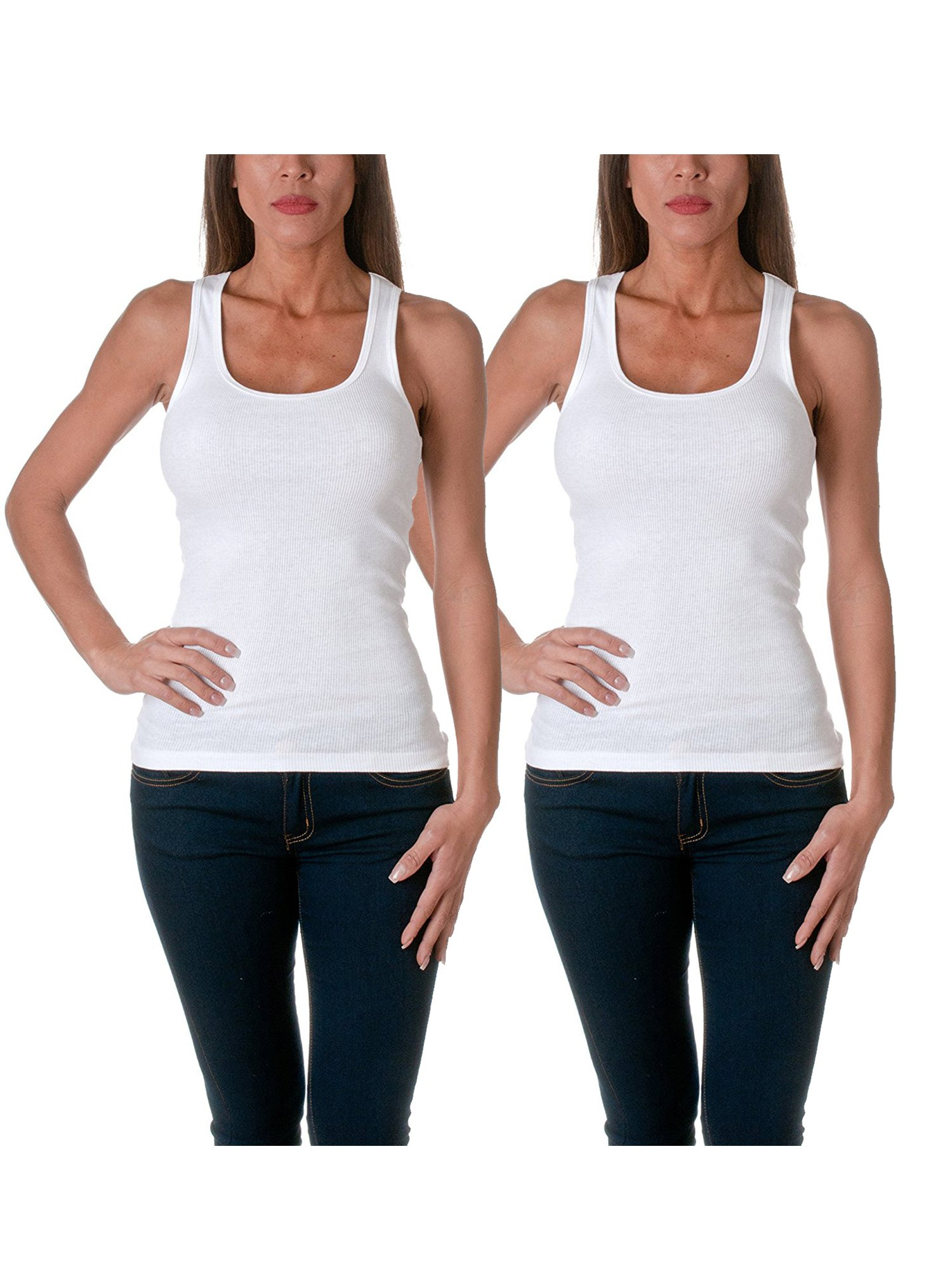 Sofra Women's Tank Top Cotton Ribbed 2 Pack Deal(White/White-S)