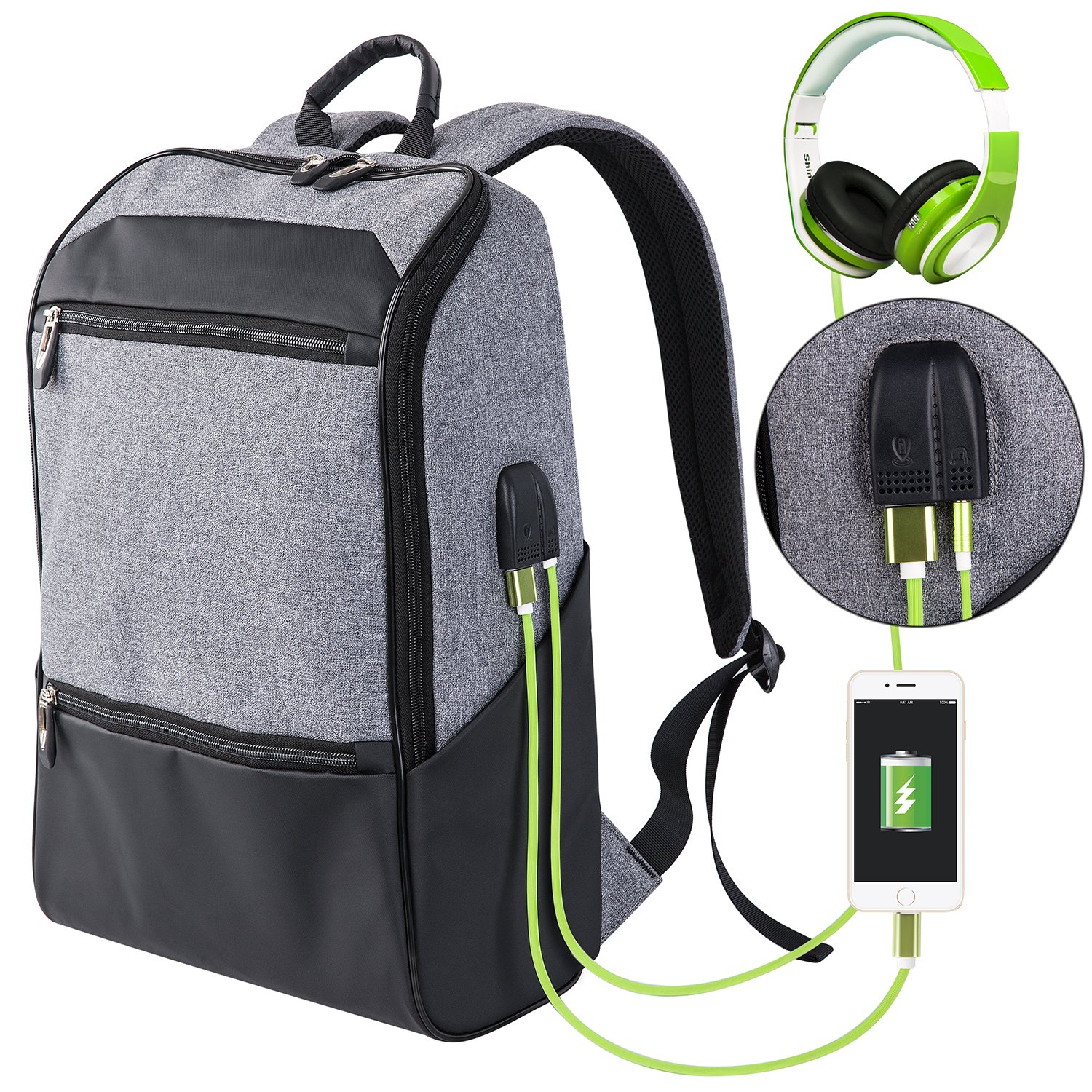 Laptop Backpack for Men & Women with Waterproof, Travel/School Backpack with USB Charging Port & Headphone Interface, Slim Business/Work Computer Bag Fit 15.6 to 17 Inches Laptop/Notebook / DSLR